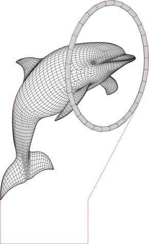 Acrile Led Dolpin 3d Illusion Lamp Vector File Kreatif Lampu Ilusi