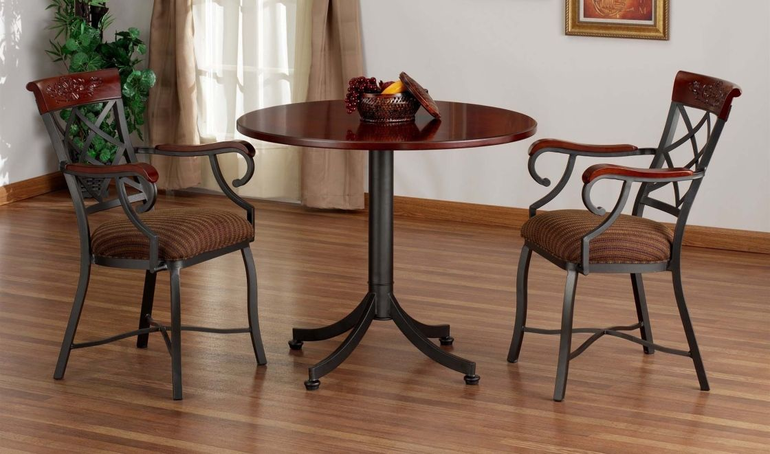 Affordable Bistro Table Set Inspiration For Cafe Presenting Dark Cherry Finish Wood Round With Black