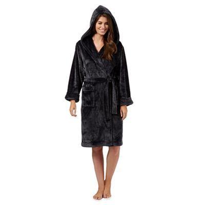 J by Jasper Conran Grey luxury hooded dressing gown- at Debenhams ...