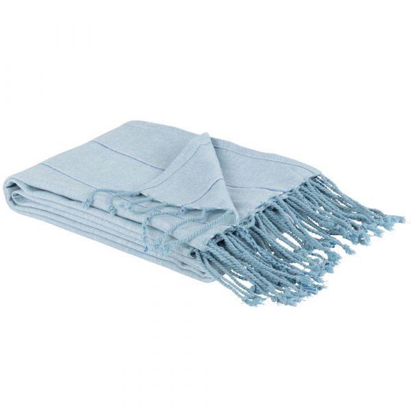 Chill Blue Cotton Fouta Towel with Silver Stripe Print | Maisons du Monde US