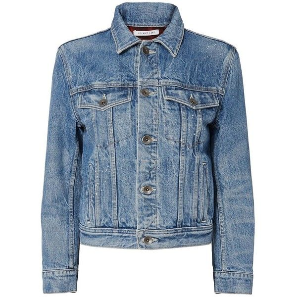Helmut Lang Women's Shrunken Denim Jacket with Plaid Lining (7.680 ARS) ❤ liked on Polyvore featuring outerwear, jackets, coats & jackets, blue jean jacket, helmut lang, helmut lang jacket, lined jean jacket and blue denim jacket