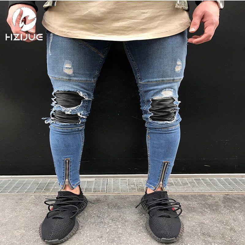>> Click to Buy << HZIJUE Fashion Men Jeans New Arrival Hip Hop Design Slim Fit Fashion Biker Jeans For Men Good Quality Blue Plus Size 28-38 #Affiliate