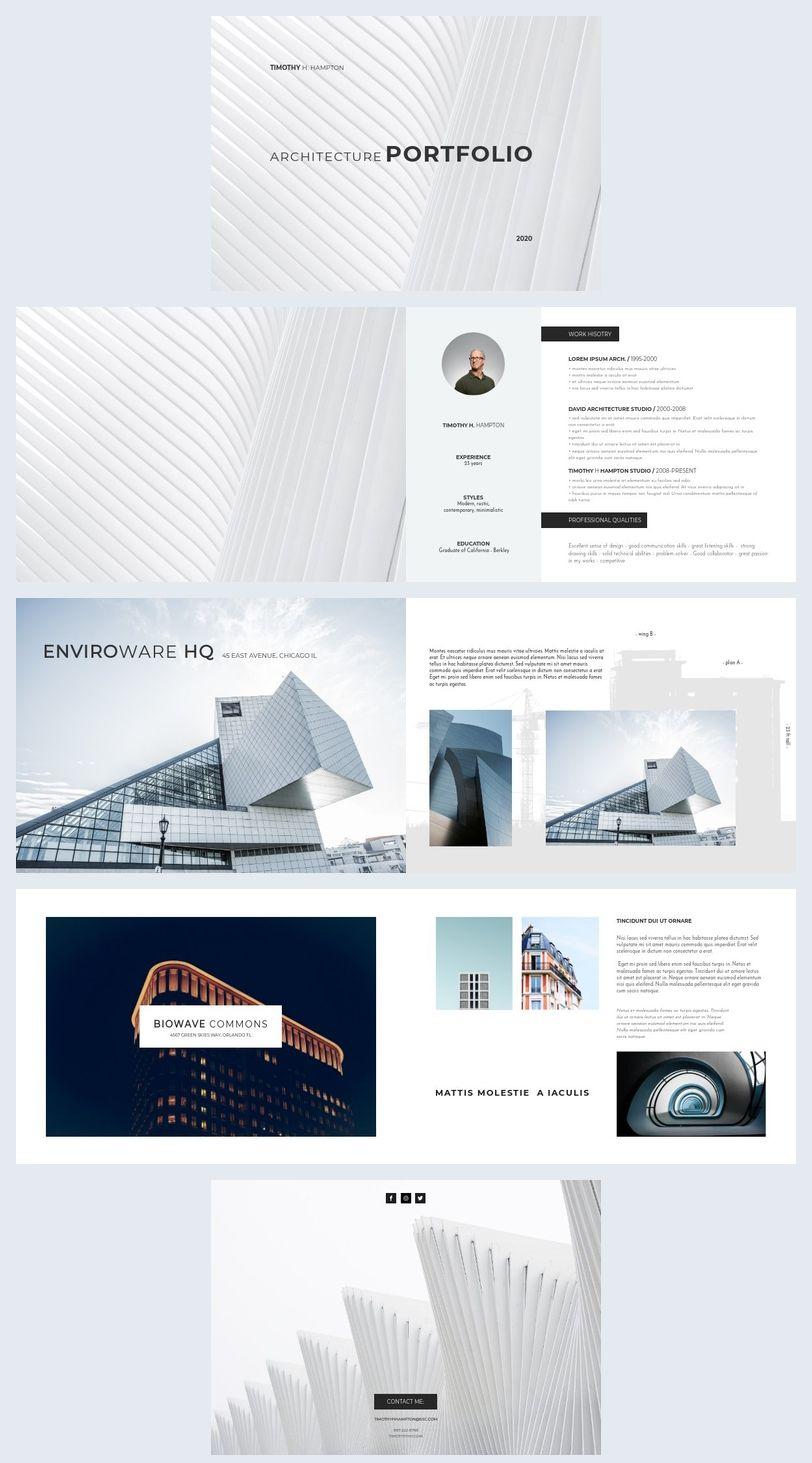 Elegant Architecture Portfolio Template In 2020 Architecture Portfolio Template Interior Design Portfolio Layout Architecture Portfolio