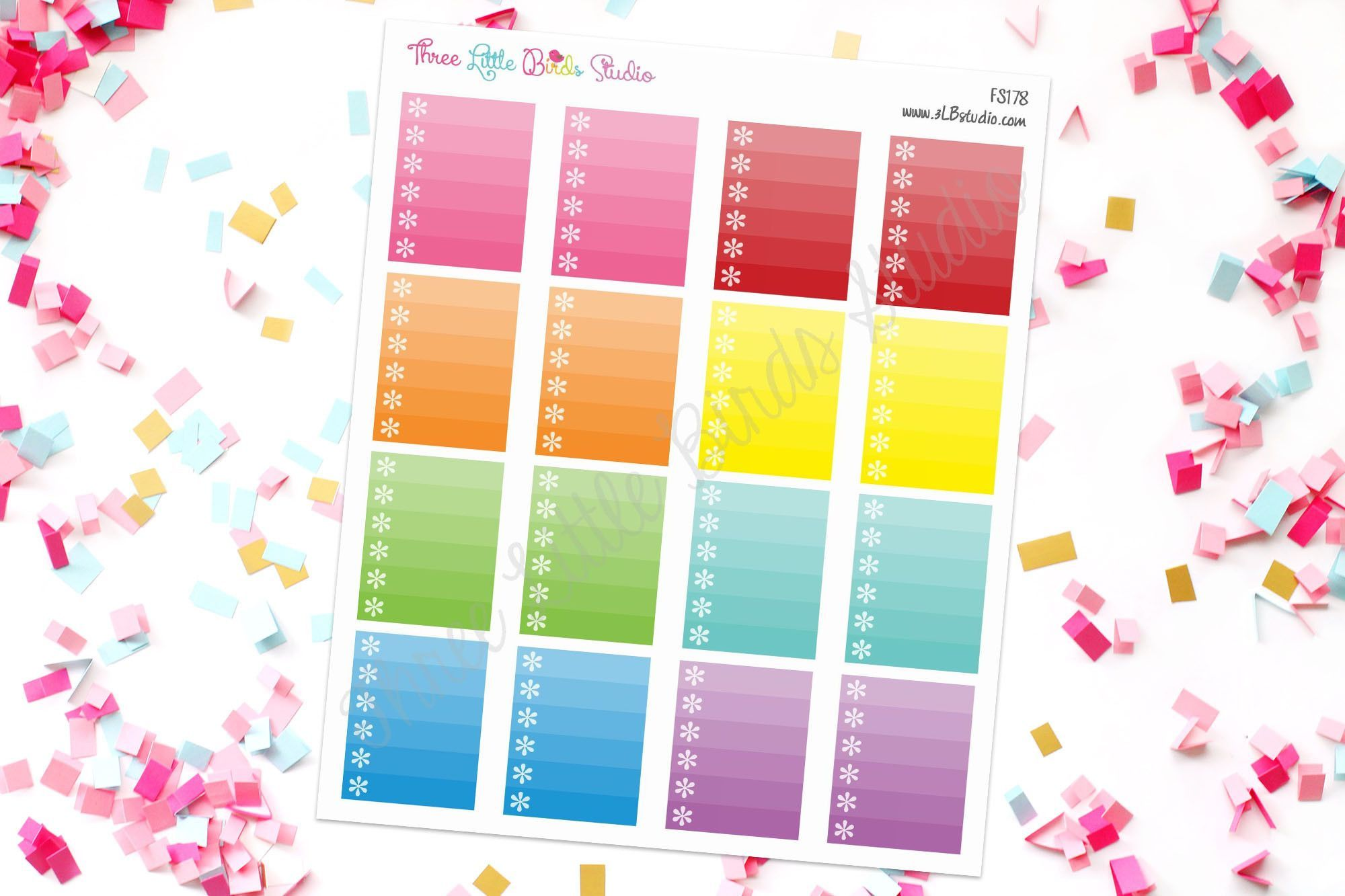 Ombre Full Box Asterisk Checklist Stickers for the 3LB Vertical WO2P inserts, ECLP,and similar planners