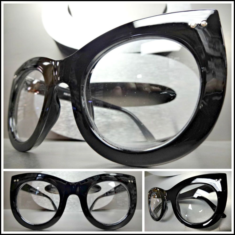 Oversized Exaggerated Vintage Retro Style Clear Lens EYE GLASSES Tortoise Frame