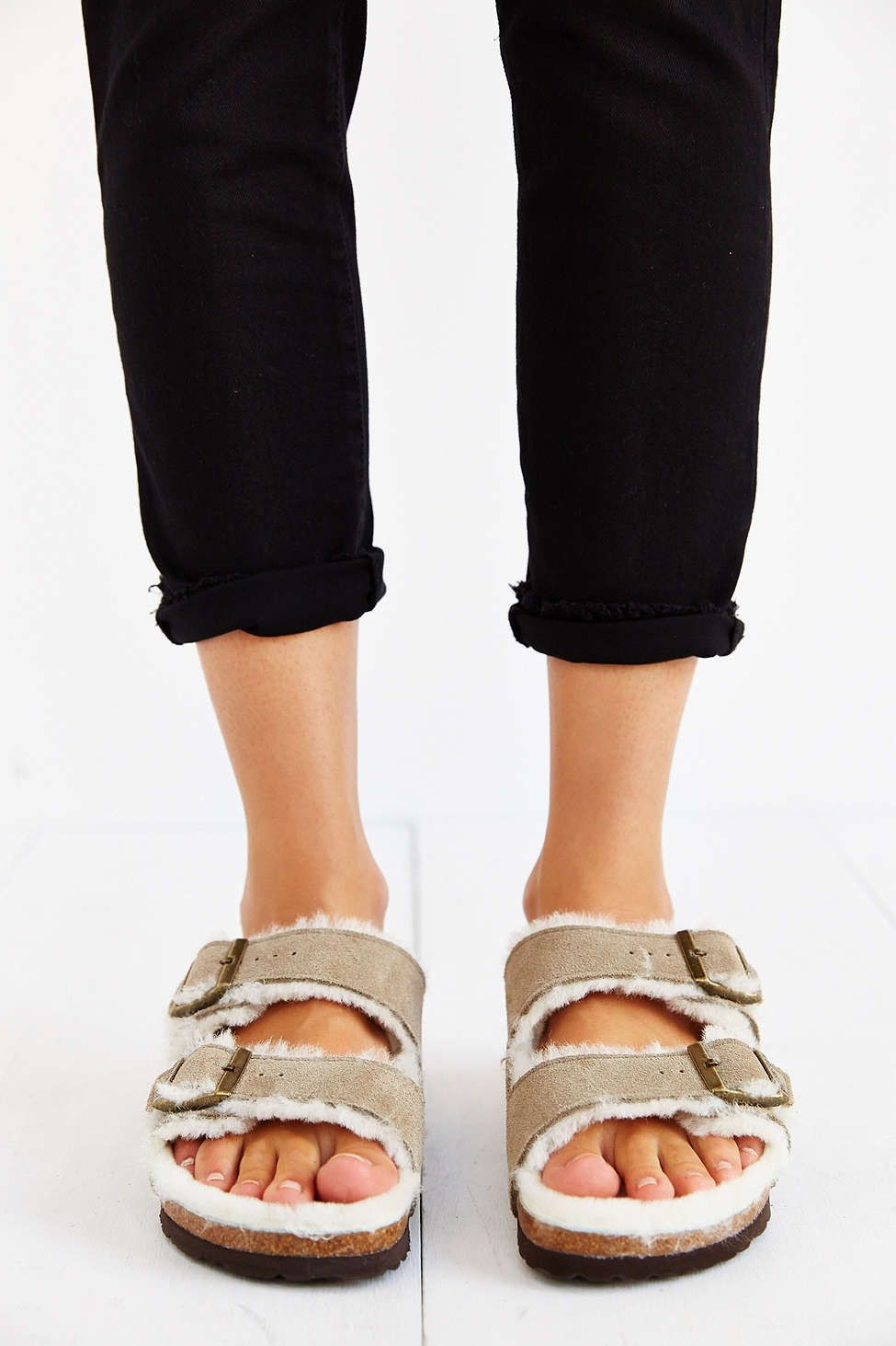 Birkenstock Arizona Shearling Taupe Suede Sandal - Urban Outfitters ... f4239be6ecf