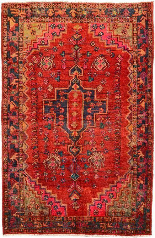 Red Hamedan Area Rug Iranian Rugs Rugs On Carpet