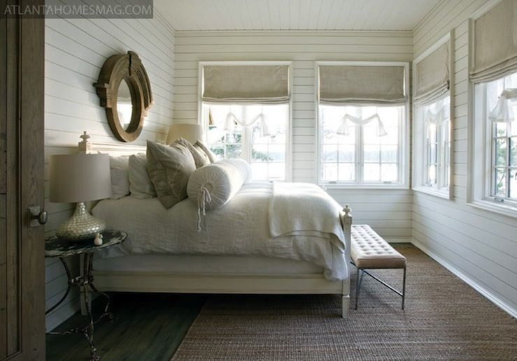 Beautiful Cottage Beachy Bedroom Design With Restoration Hardware Mansard Salvaged Wood Mirror Oatmeal Linen Roman
