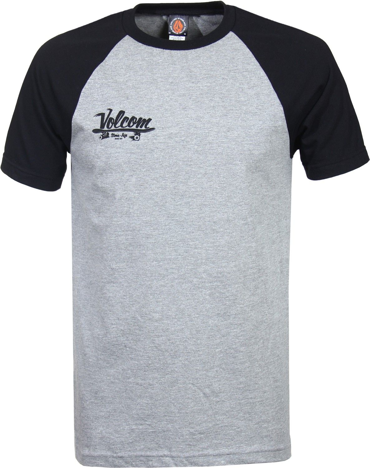 Pro tag 100 cotton 3 4 sleeve raglan baseball shirt in white black - Volcom Skate Club Stone Age Raglan T Shirt Heather Grey Men S Clothing Shirts T Shirts Short Sleeve T Shirts