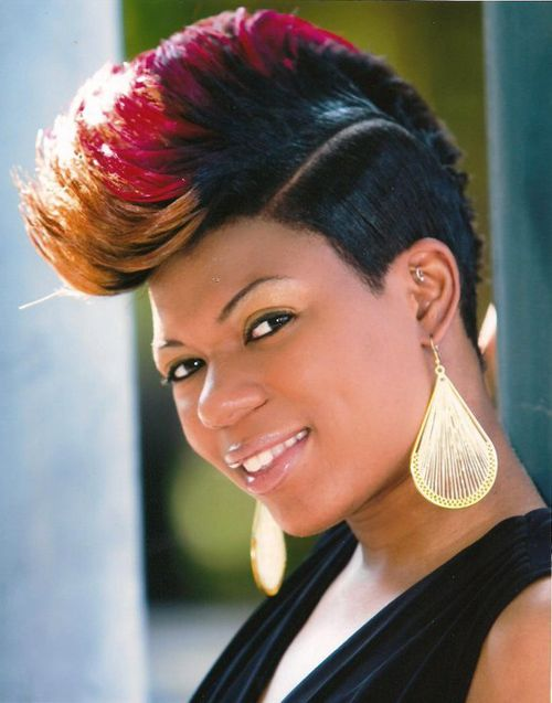 Stunning Short Mohawk Hairstyles With Three Color Black Red And