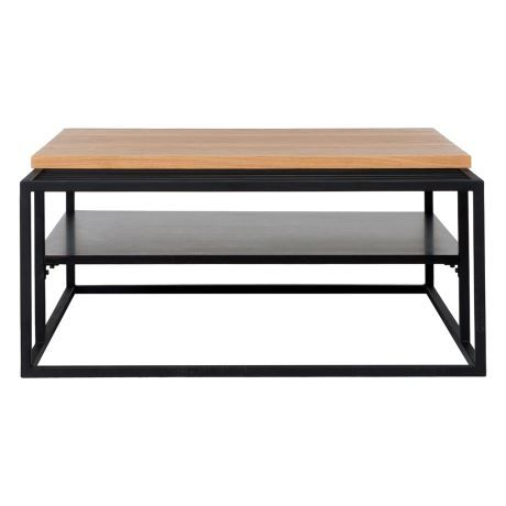 ATELIER Coffee Table With Magazine Holder, Black & Oak