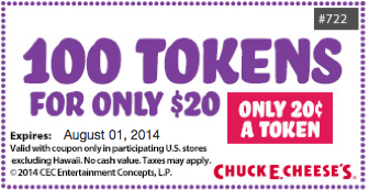 photo about Chuck E Cheese Coupon Printable called Chuck E Cheeses Printable Coupon Consider 100 Tokens for only
