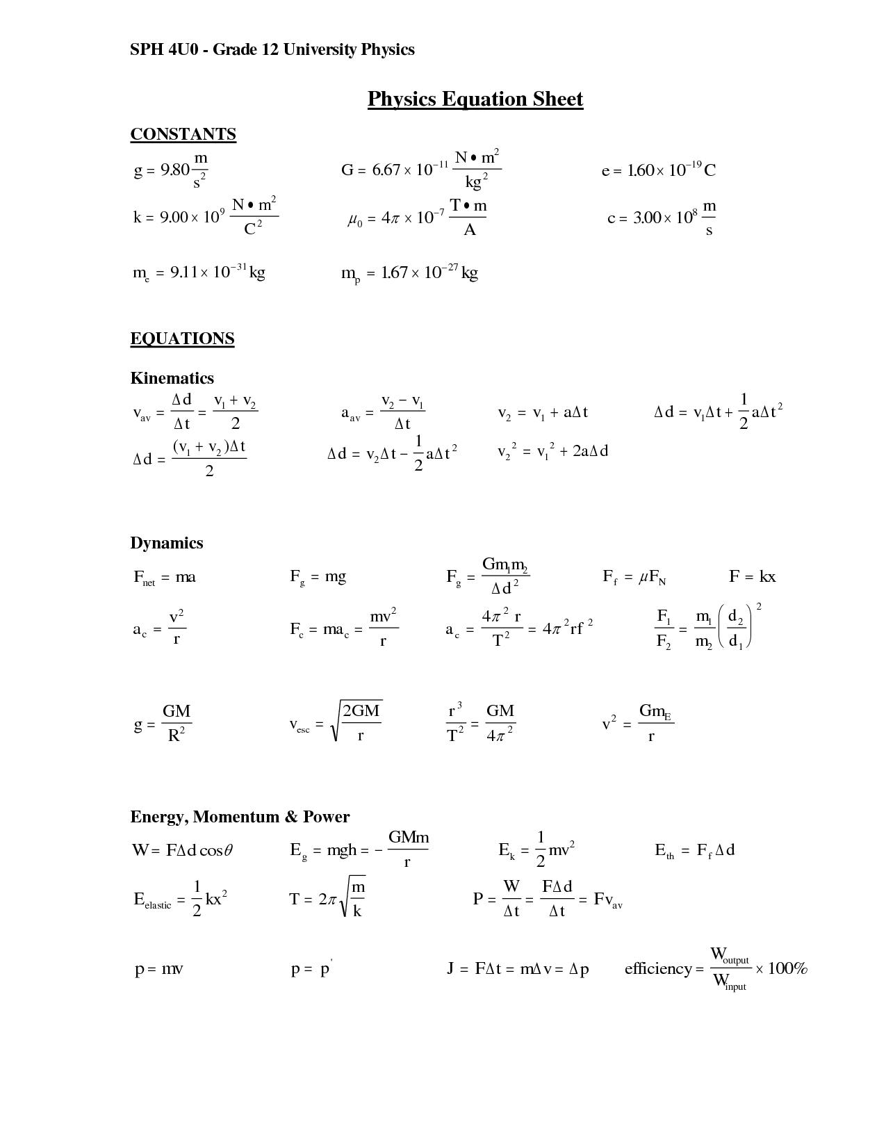 Pin By Hannah Solo On Physics Formula Sheet