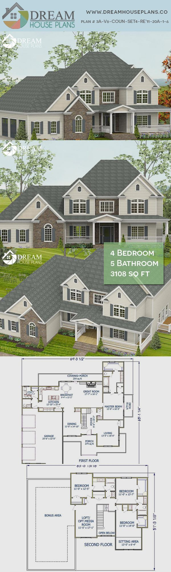 Dream House Plans: Popular Southern 4 Bedroom, 3108 Sq. Ft. house plan with cust...