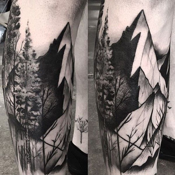 c840ee378 Shaded Black And Grey Tree Sleeve Tattoo For Men With Mountain Designs