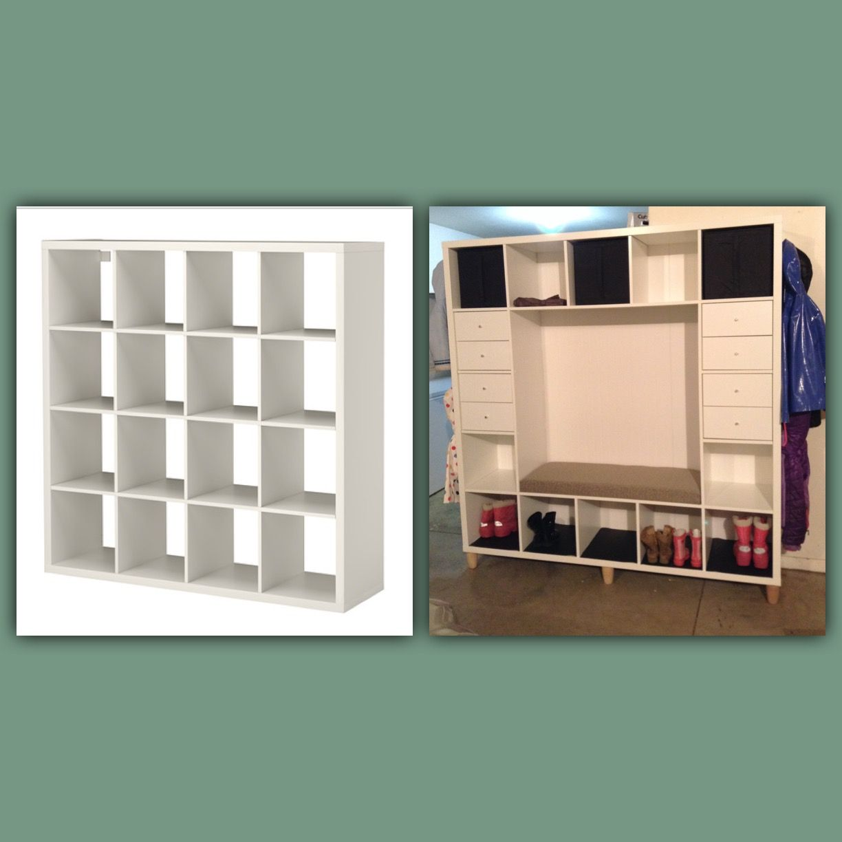 ikea hack kallax shelves to mudroom bench crafty things. Black Bedroom Furniture Sets. Home Design Ideas