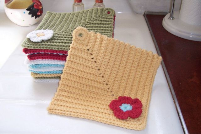 Crochet vintage dishcloths like these ones by Crochet Again in Kitchen Cotton.