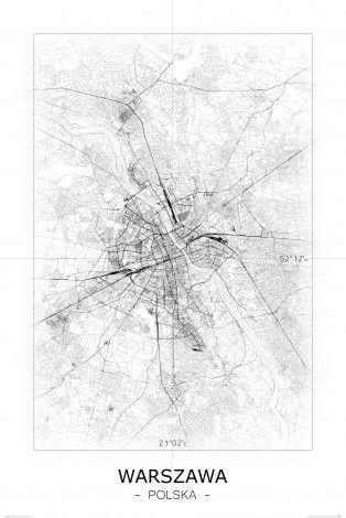 Warszawa Czarno Biała Mapa Mapy Plakat