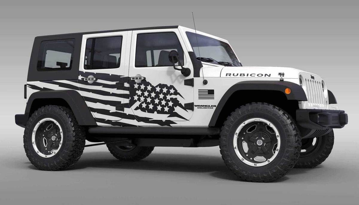 Us Flag Theme Splash Stars Graphic Decal For 07 17 Jeep Wrangler Unlimited Jk 4 Door Jeep Wrangler Unlimited Jeep Wrangler Jeep Wrangler Interior
