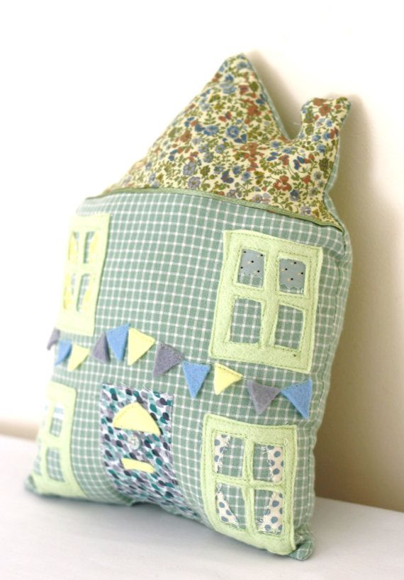 Bunting House Cushion Applique Pillow Kids Nursery by Kidspun, £13.00