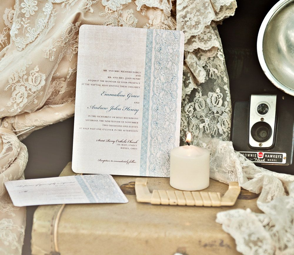 Wedding Invitations - Vintage Chic Blue Lace and Linen...but perhaps ...