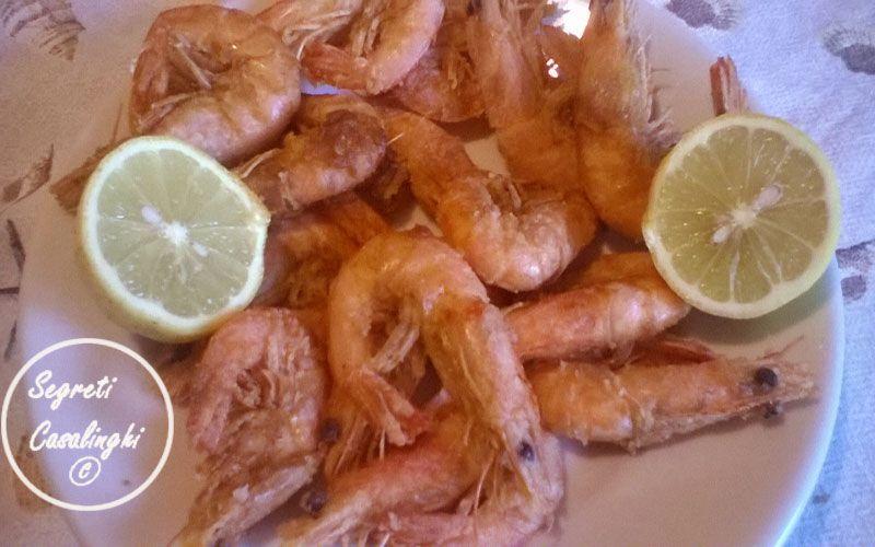 Gamberi Fritti Secondi Piatti Pesce Shrimp Meat E Food