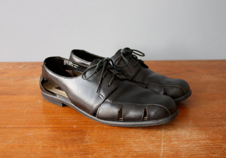 vintage woven oxfords 9 / hurache black lace ups / 90s revival oxfords by GazeboTree on Etsy
