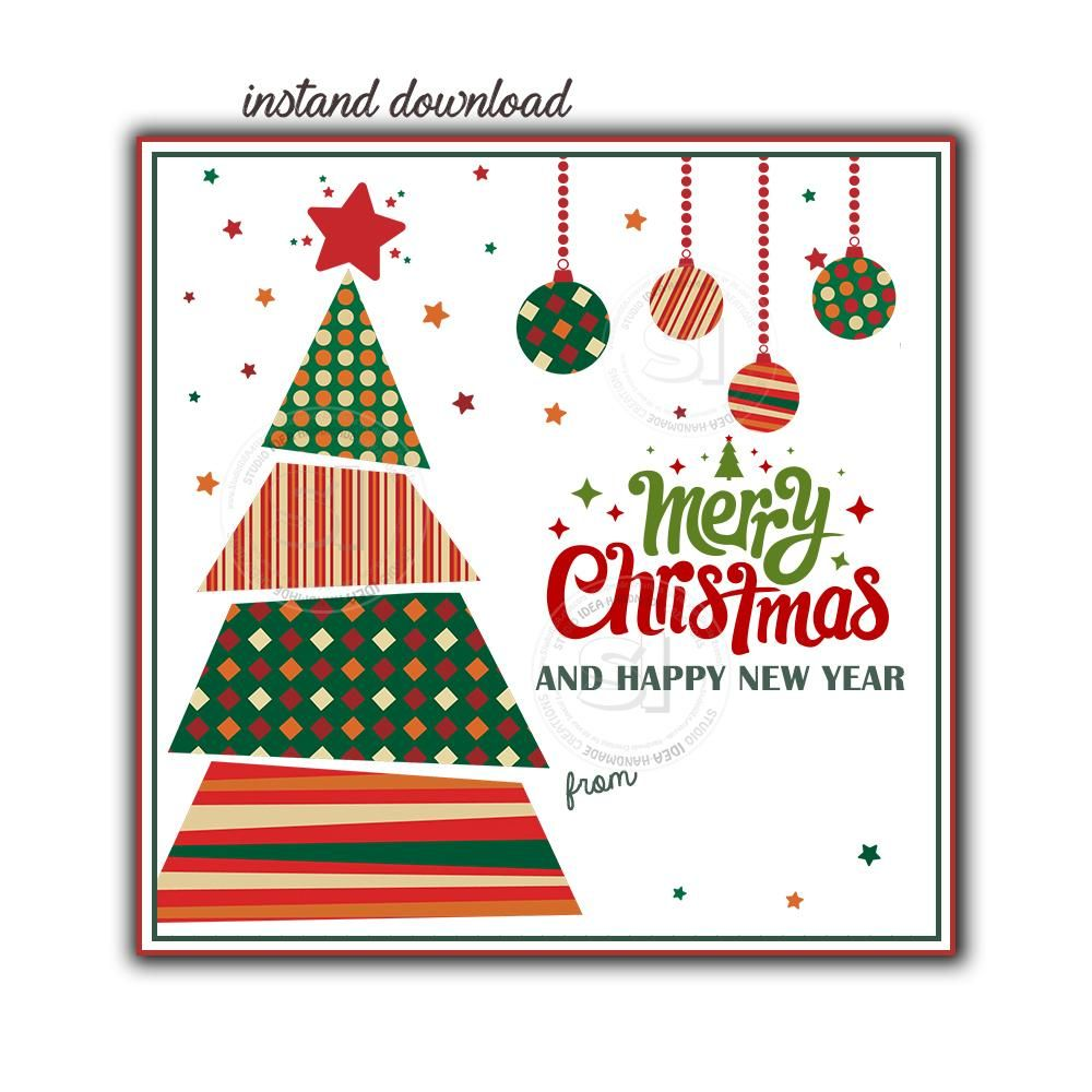 Instant Download Christmas Tree Wishes Printable 2 5 Tag Merry Christmas 2 5 Inches Square Ta Christmas Tags Printable Merry Christmas Tags Christmas Poster