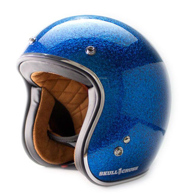 3 4 Open Face Vintage Helmet Blue Metal Flake Vintage Helmet Cafe Racer Helmet Bobber Helmets