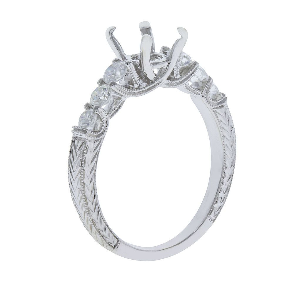 14k White Gold Diamond Engagement Ring Setting Semi Mount 0.79ct Size 6.5 #UniQJewels #SolitairewithAccents