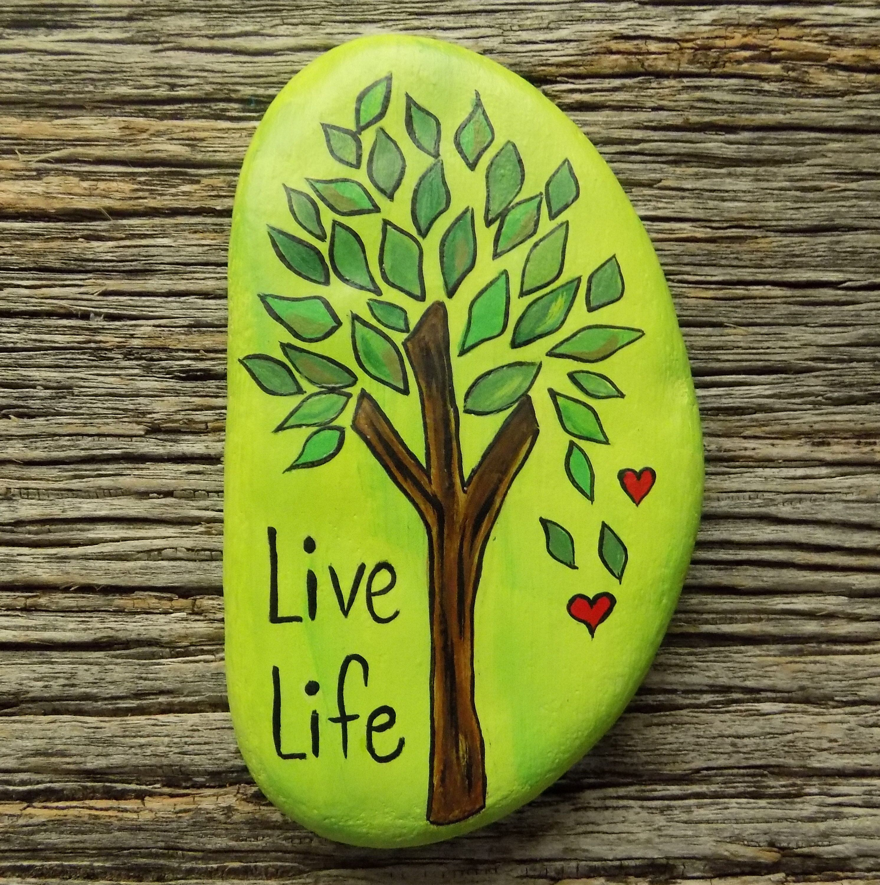 Live Life Tree Painted Rock Decorative Accent Stone Paperweight
