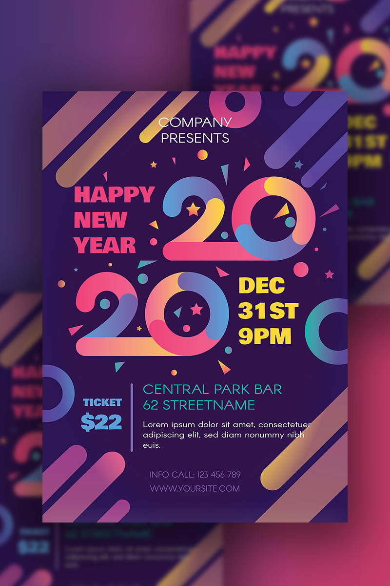 Happy 2020 New Year Poster PSD Template 91209 New years