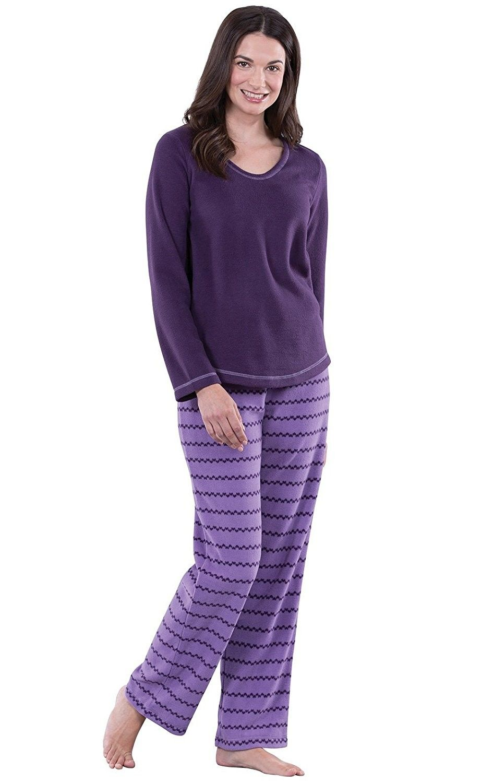 bc809a42c216 Pullover Fleece Pajamas for Women- Long Sleeve V-Neck PJ Set ...