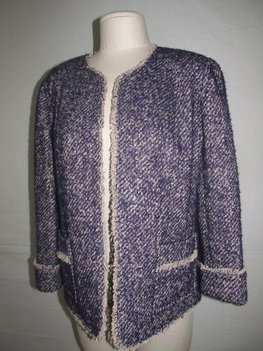 It's gonna be chilly before we know it!  Fabby Talbots size 14 purple fuzzy mohair blend blazer/open jacket.  Stylish and warm!