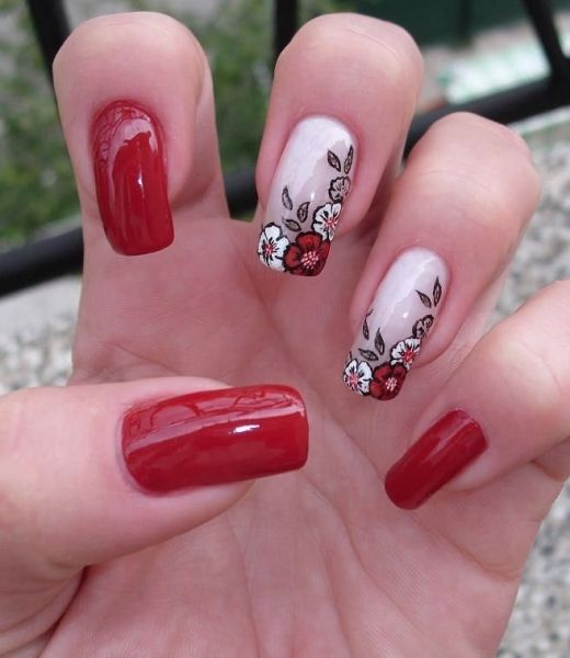 hot red floral nail art. For more nail art ideas, visit www ...