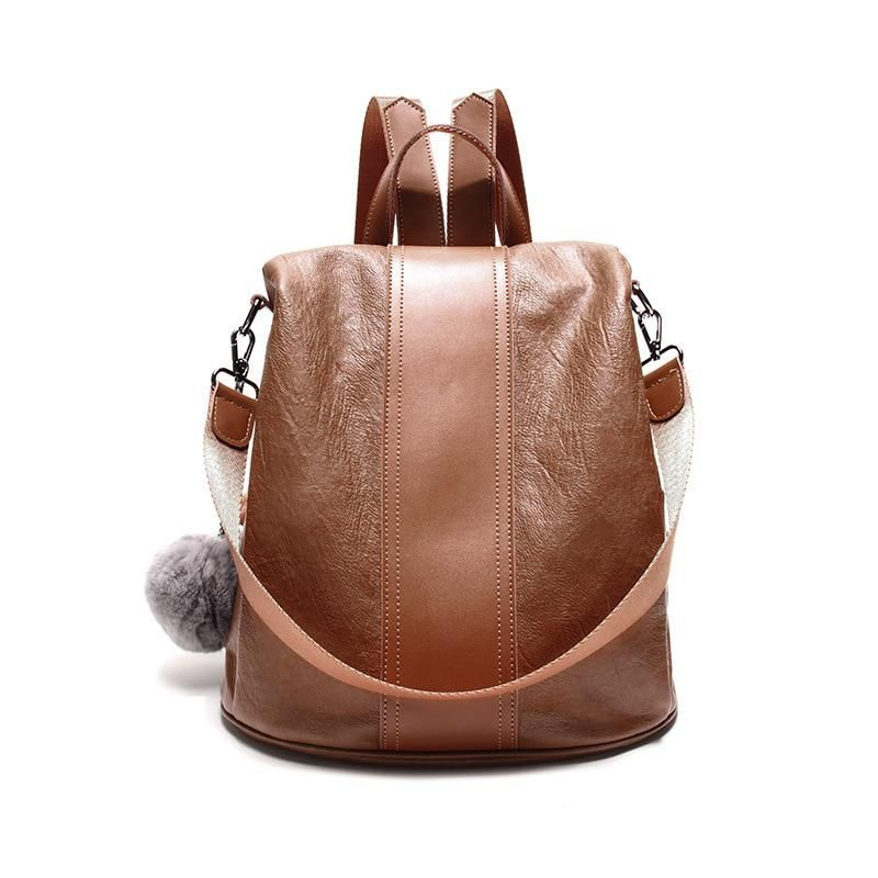 feb2936a1bf8 2018 New Travel Backpack Korean Women Female Rucksack Leisure Student  School bag Soft PU Leather Women Bag. Yesterday s price  US  68.00 (60.61  EUR).