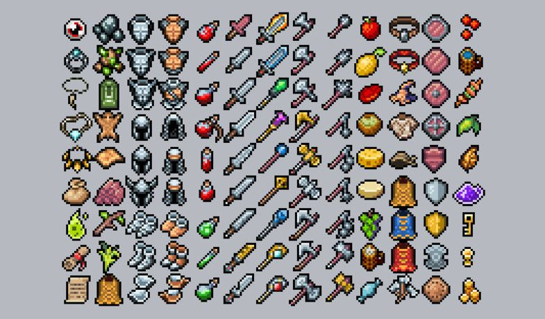 rpg inventory icons retro pack asset store game