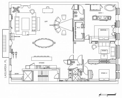 New York Studio Apartments Floor Plan With Loft