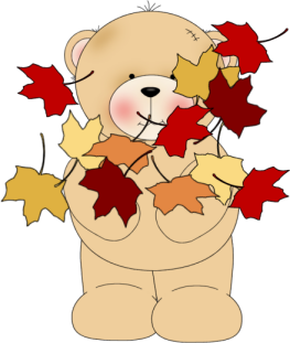 Image result for cartoon bear with fall leaves