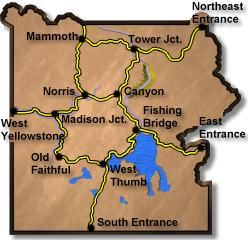 A map of locations throughout Yellowstone with all the best sites to ...