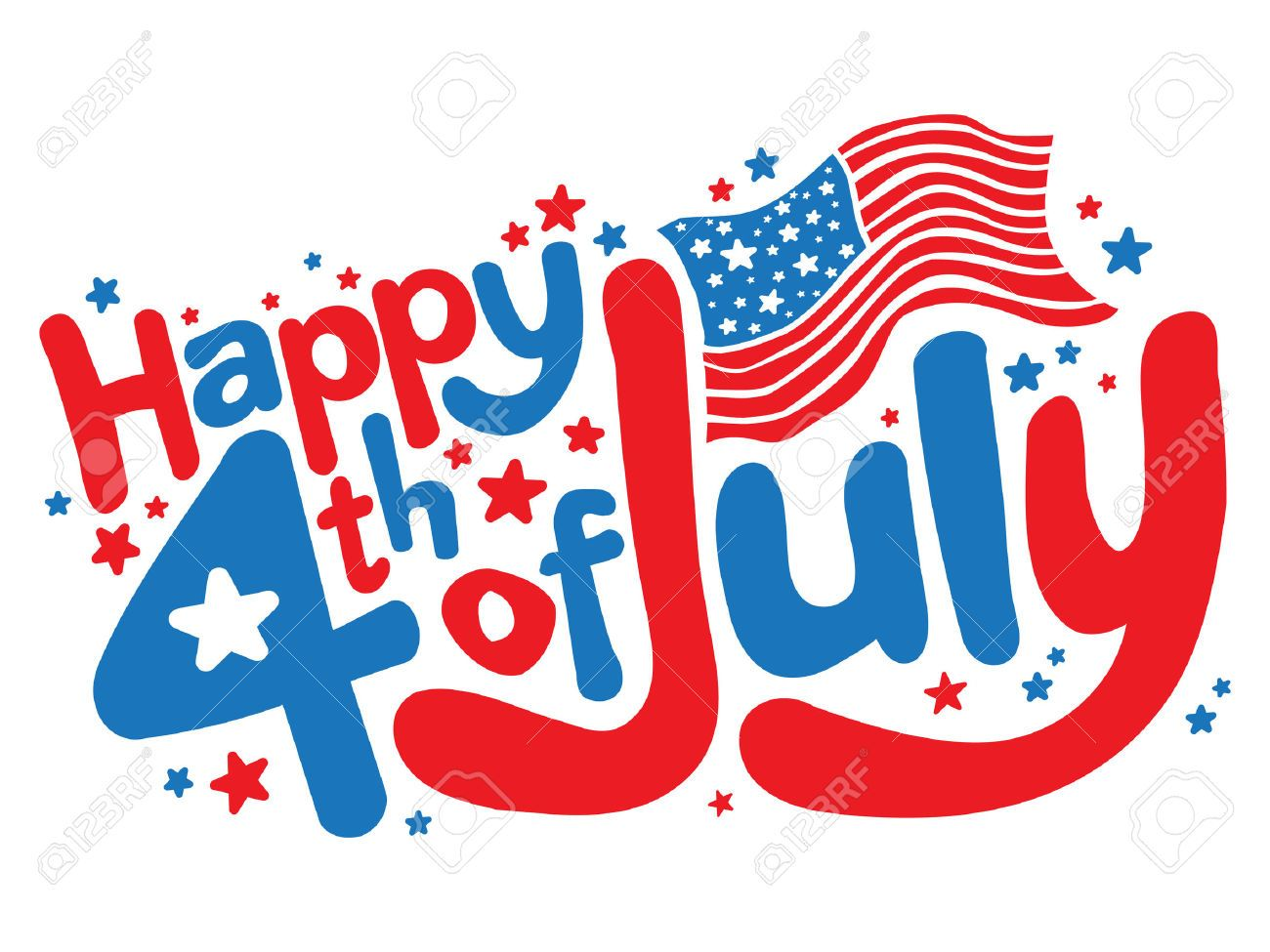 happy 4th of july fun text vector graphic royalty free cliparts  [ 1300 x 975 Pixel ]