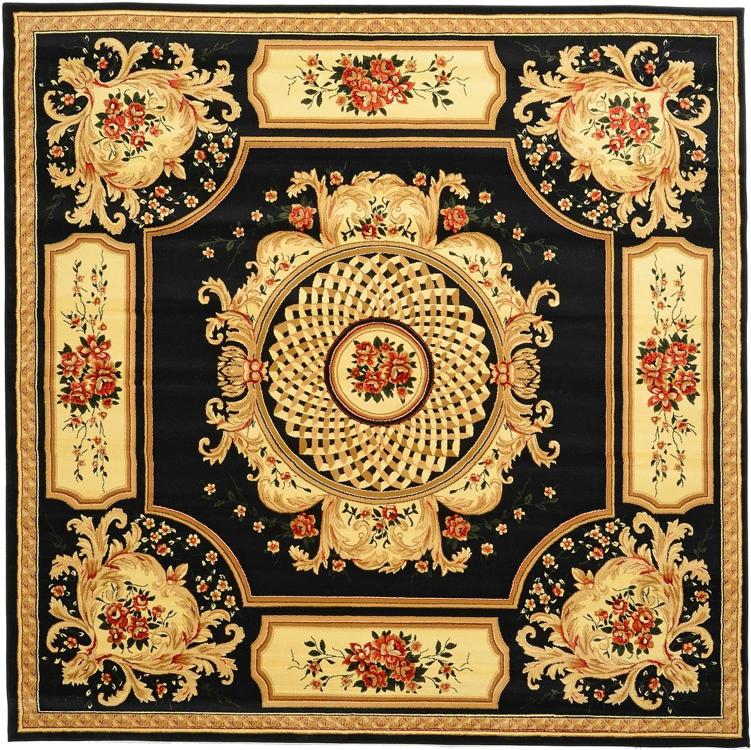 Black 9 10 X 9 10 Classic Aubusson Rug Area Rugs Square Rugs Aubusson Rugs Area Rugs
