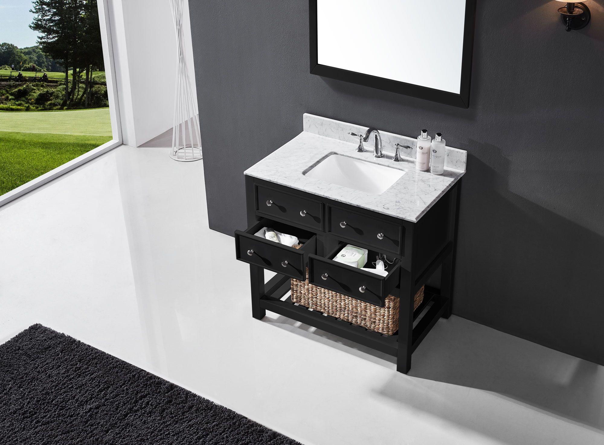 Exclusive Heritage Elodie 36 Single Sink Bathroom Vanity In Espresso With White Carrara Marble Top Bas Single Sink Bathroom Vanity Bathroom Vanity Mirror Set