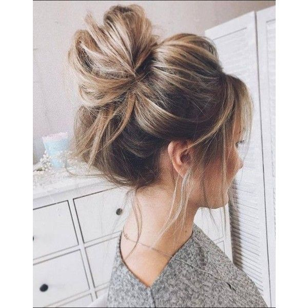 Easy Hairstyles Messy Bun Top Knot Easy Hairstyles Blonde Highlights ❤ Liked On