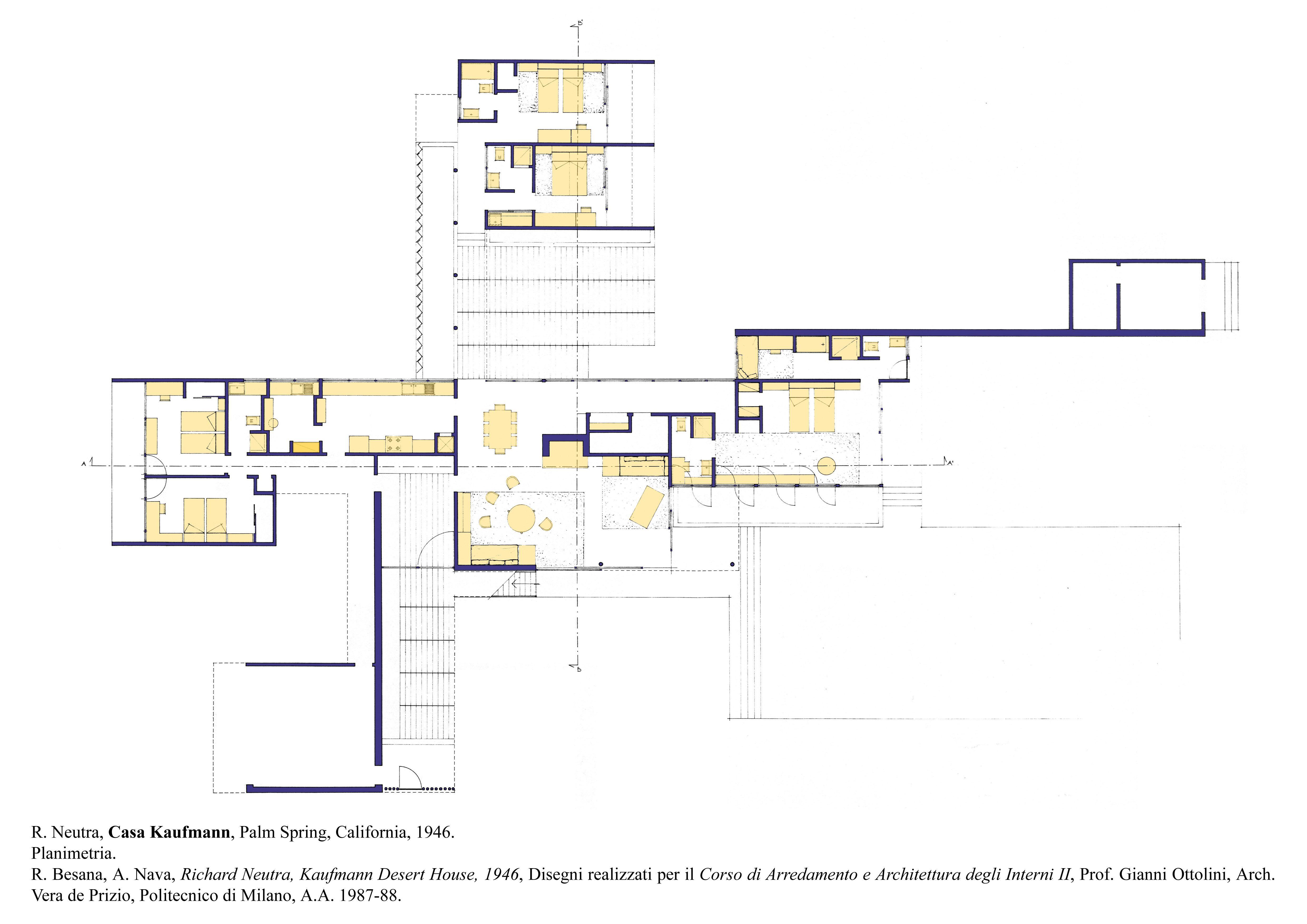 Kaufmann house richard neutra plan home design and style for Desert house plans