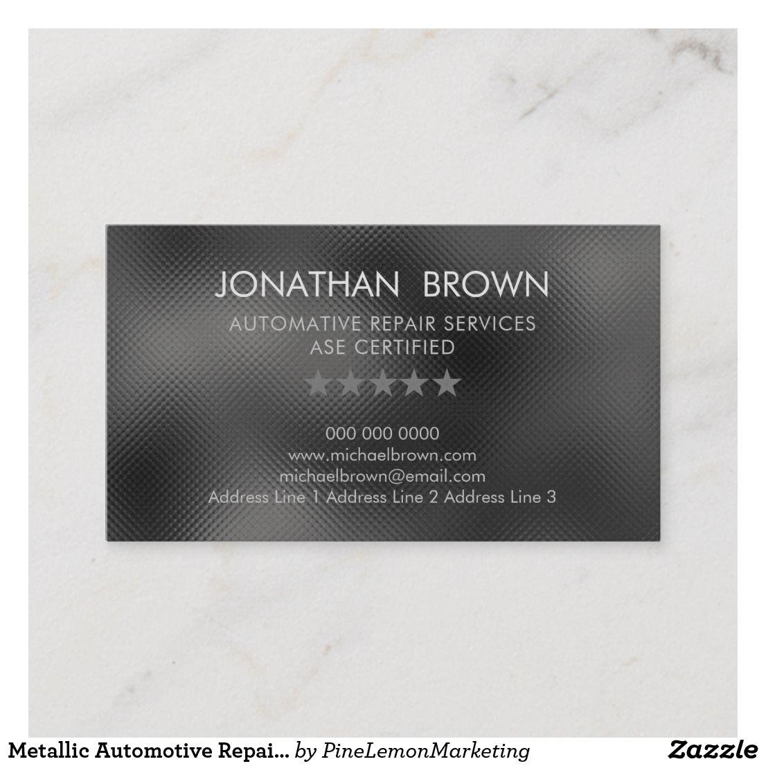 Automotive Repair Silver Business Card Zazzle Com Automotive Repair Printing Double Sided Repair