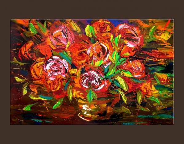 Flowers Giclee Print  impressionist  from ORIGINAL PAINTING orange red roses vase by Milen STRETCHED  canvas