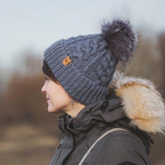 Women's Knit Hat / Cashmere Hand Knit Hat / Gray Hat / OOAK hat