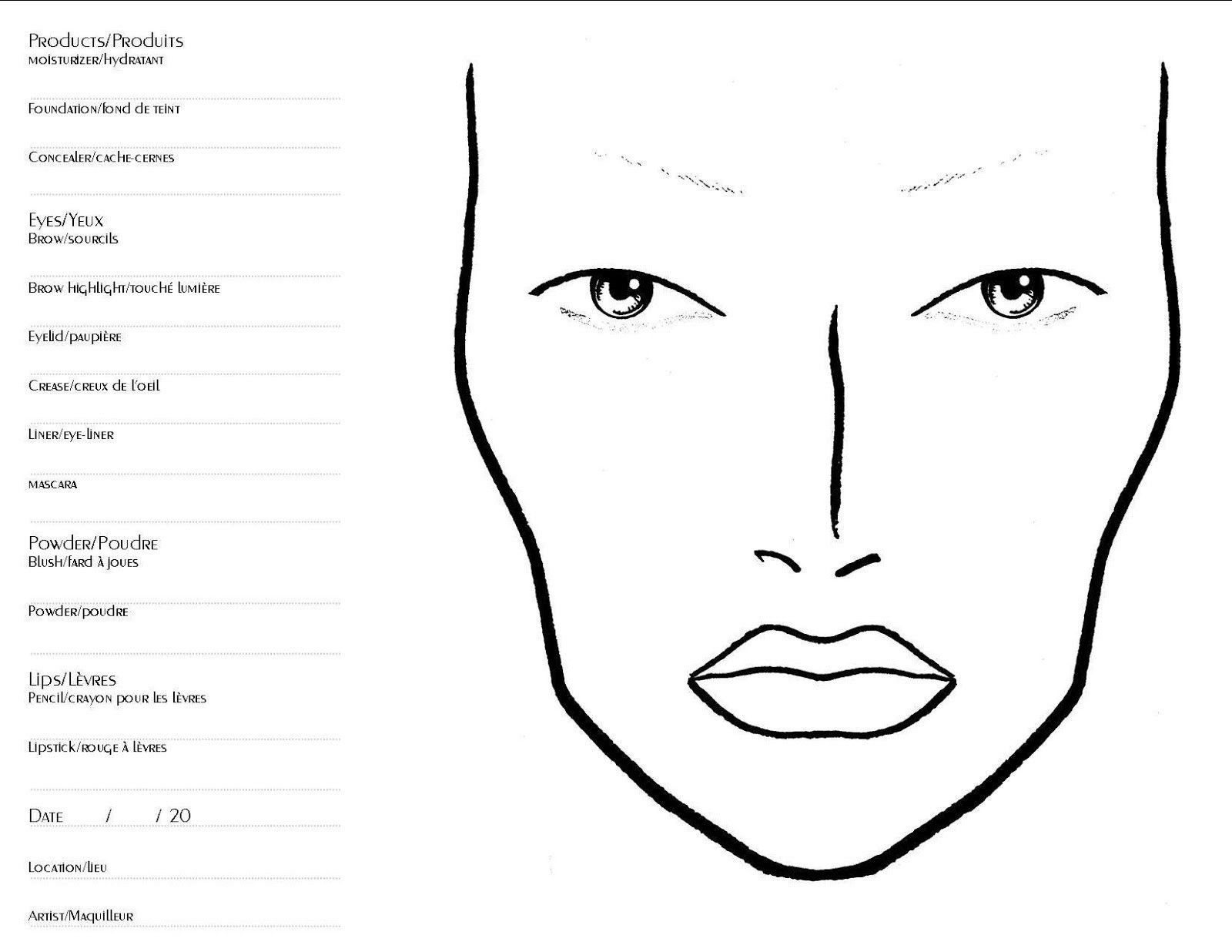 32+ Face Template For Makeup general Face Makeup Template ...