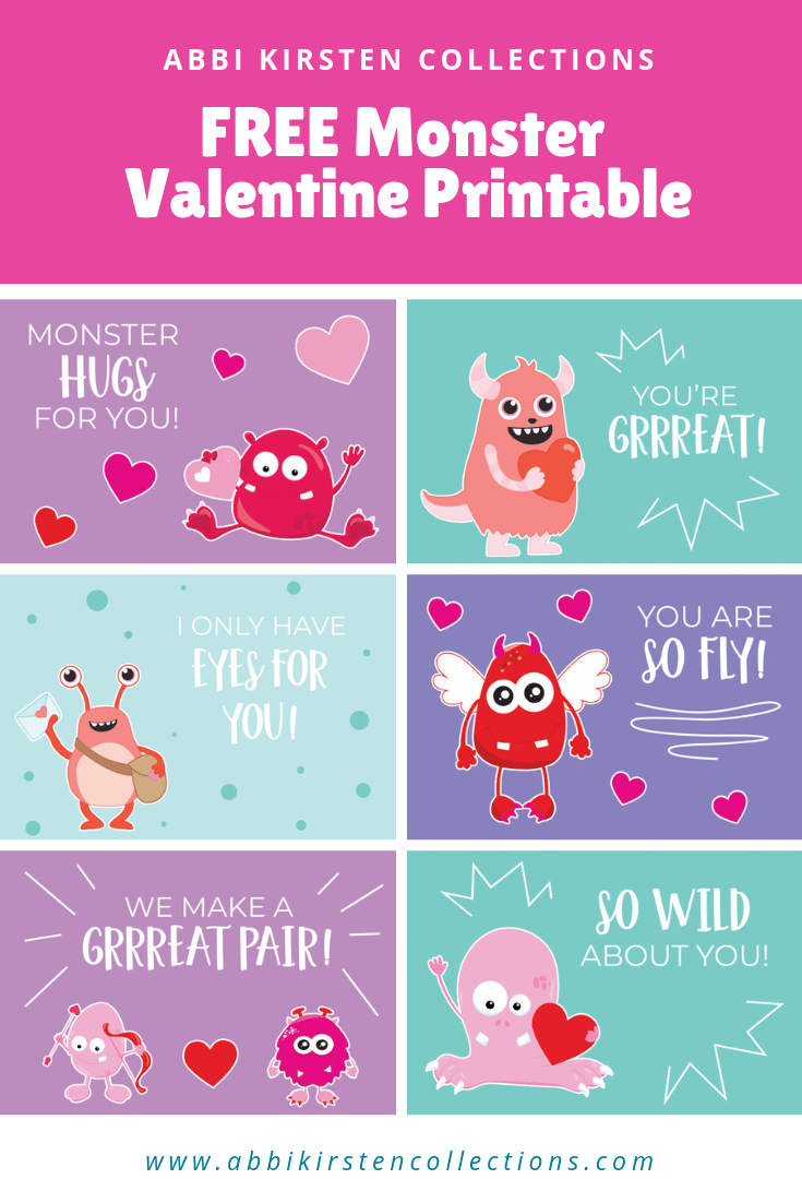 Free Valentine S Cards For Kids Printable Monster Valentine Cards Printables Free Kids Free Valentine Cards Monster Valentines